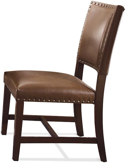 Riverside Furniture Mix-N-Match Chairs Bonded Leather Upholstered Parson Chair with Nailhead Trim
