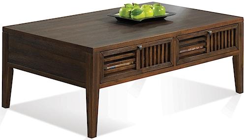 Riverside Furniture Modern Gatherings Open Slat Coffee Table with 2 Drawers