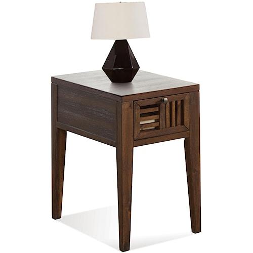Riverside Furniture Modern Gatherings Open Slat Chairside Table with 1 Drawer