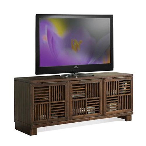 Riverside Furniture Modern Gatherings Open Slat TV Console with 3 Doors