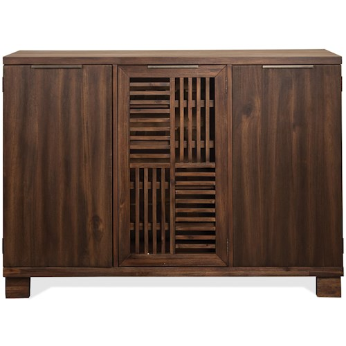 Riverside Furniture Modern Gatherings Open Slat Bar with 4 Adjustable/Reversible Wine Bottle Shelves