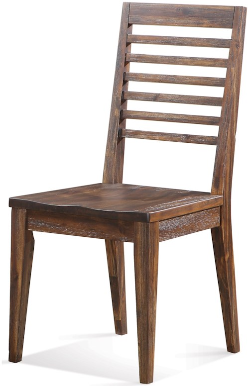 Riverside Furniture Modern Gatherings Slat Back Side Chair with Saddle-Shape Seat