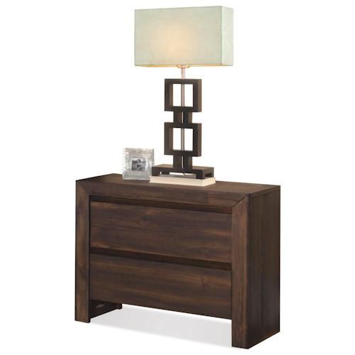Riverside Furniture Modern Gatherings 2-Drawer Nightstand in Brushed Acacia Finish