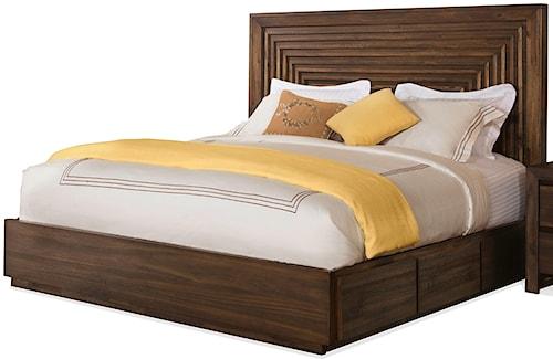 Riverside Furniture Modern Gatherings Queen Platform Panel Storage Bed with Rail Drawers