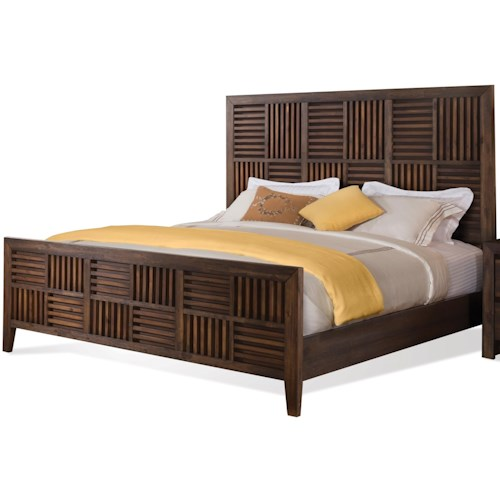 Riverside Furniture Modern Gatherings King Parquet Bed in Brushed Acacia Finish