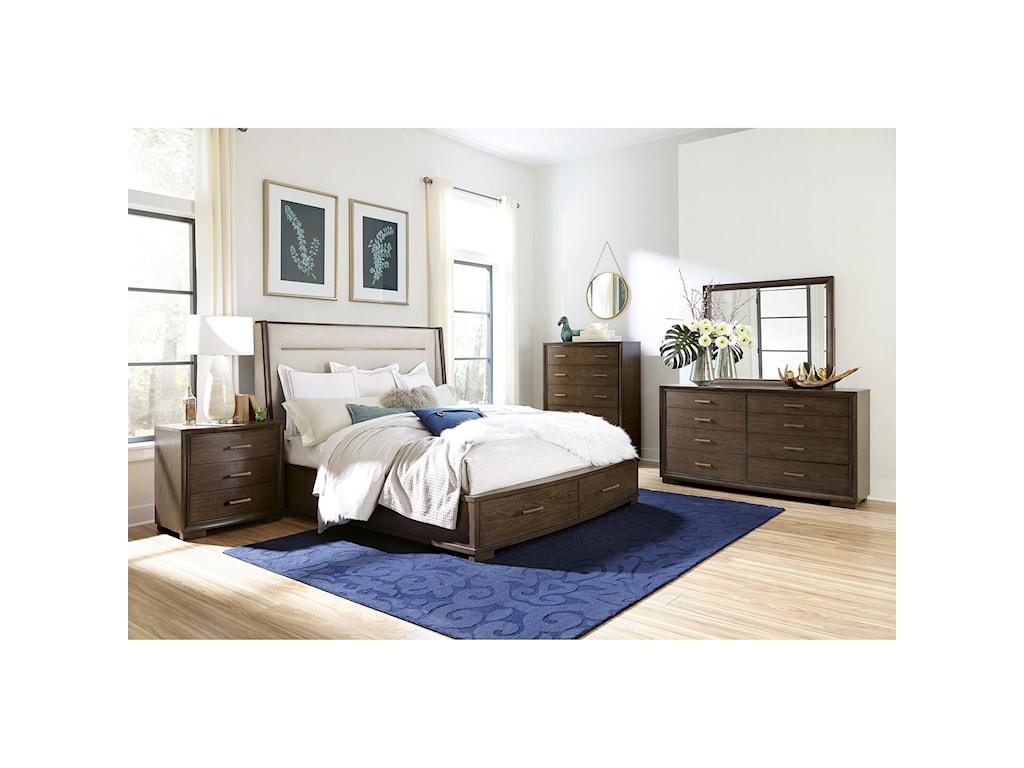 Riverside Furniture MontereyQueen Upholstered Storage Bedroom Group