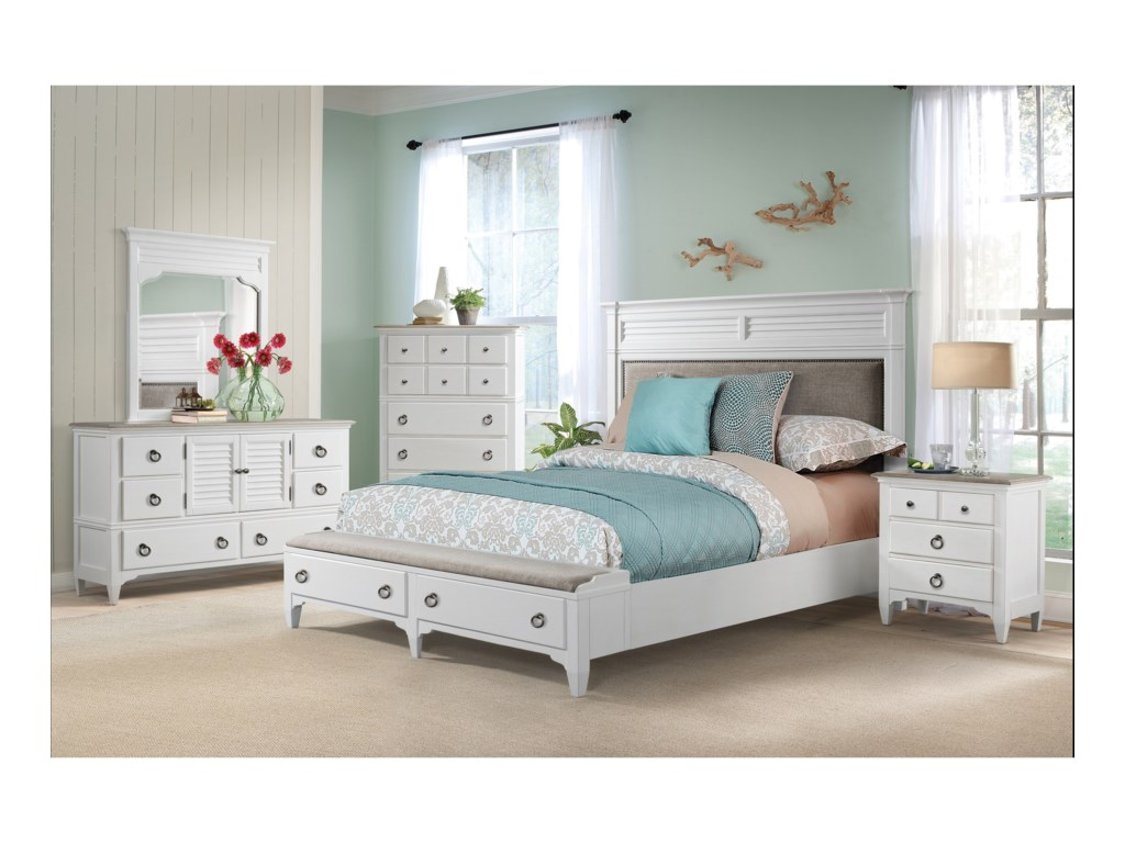 Riverside Furniture MyraQueen Upholstered Storage Bed
