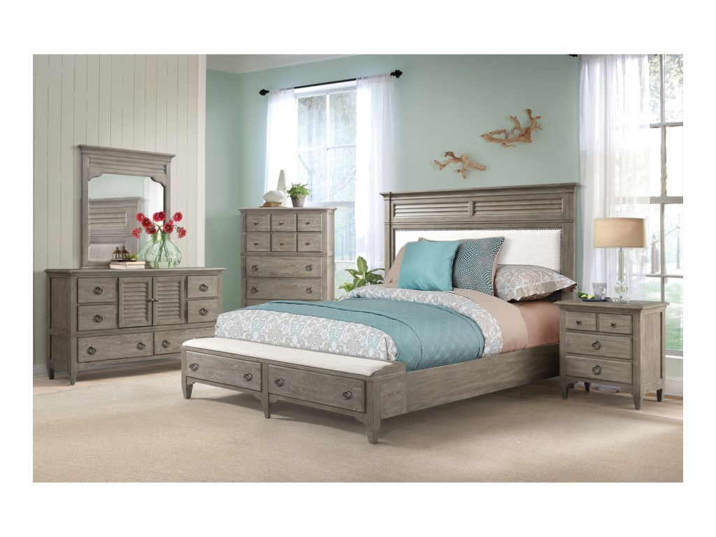 Riverside Furniture MyraKing Upholstered Storage Bed