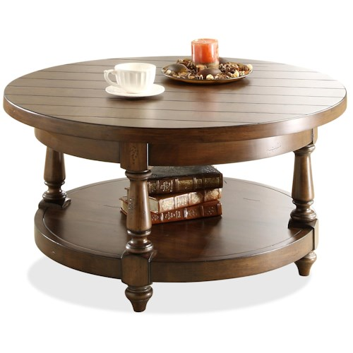 Riverside Furniture Newburgh Round Cocktail Table with Lower Shelf