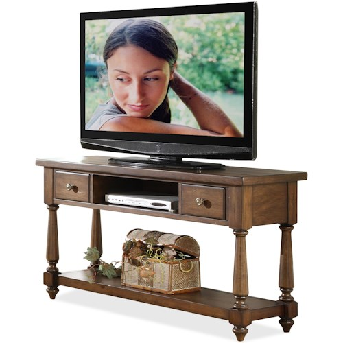 Riverside Furniture Newburgh 2 Drawer Console Table with Bottom Shelf