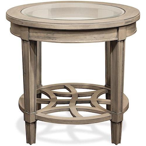 Riverside Furniture Parkdale Round End Table with Decorative Open Slat Bottom Shelf