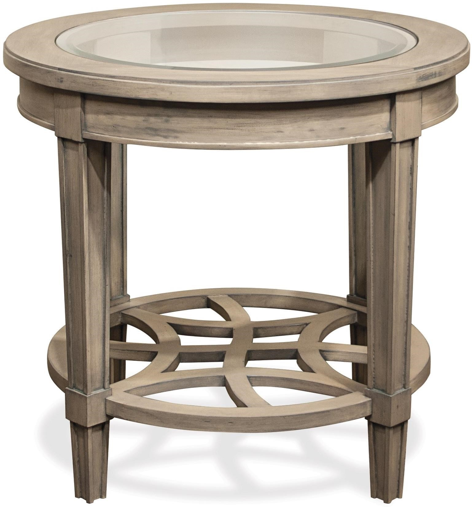 Riverside Furniture Parkdale Round End Table With Decorative Open Slat  Bottom Shelf