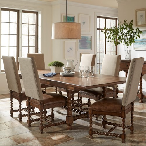 Riverside Furniture Pembroke Traditional 7 Piece Rectangle Table and Upholstered Chair Set