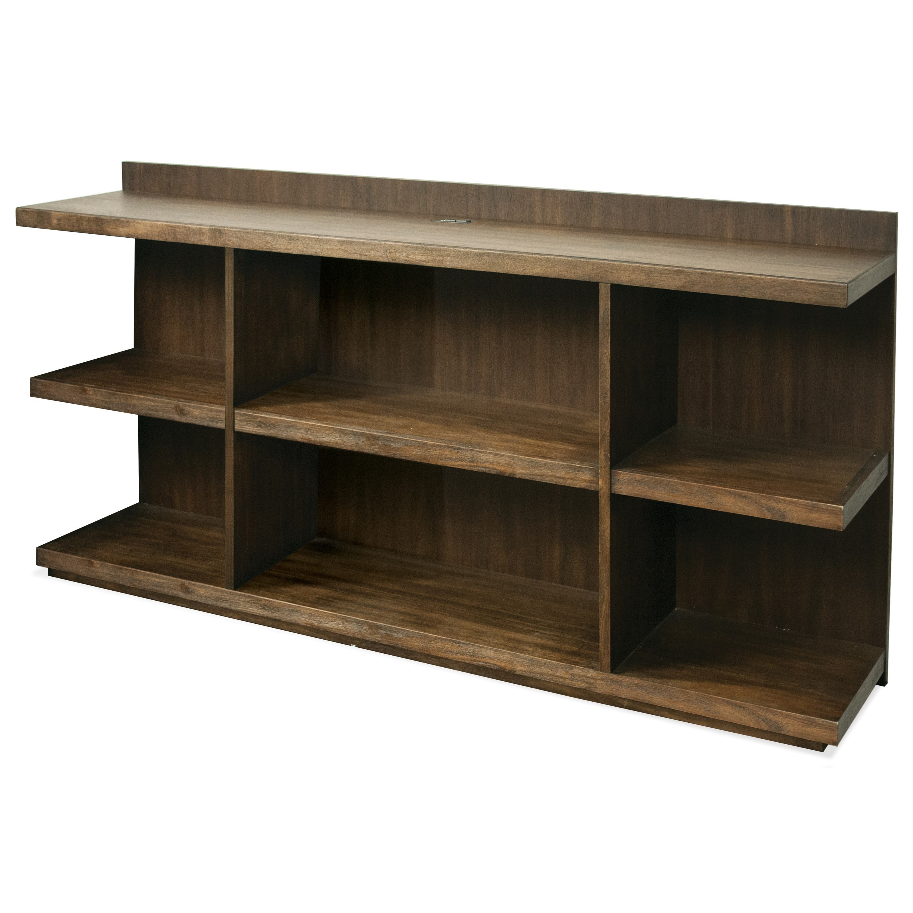 Beau Riverside Furniture Perspectives Peninsula Bookcase Desk With Outlet Bar In  Top Panel