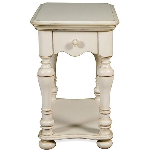 Riverside Furniture Placid Cove 1 Drawer Rectangular Chairside Table with Bottom Shelf