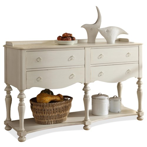 Riverside Furniture Placid Cove Honeysuckle White Server with 4 Drawers