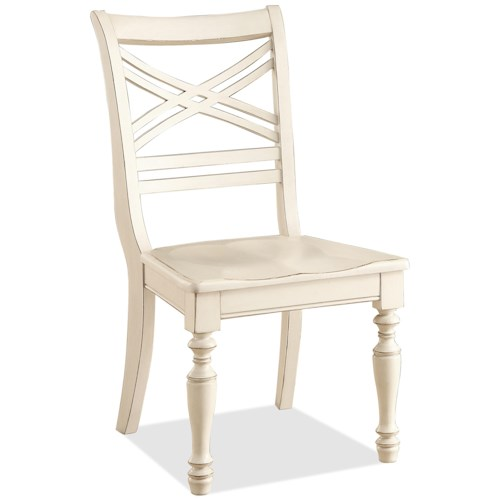 Riverside Furniture Placid Cove X-Back Side Chair with Turned Legs