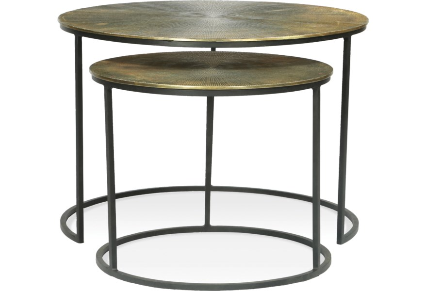 Riverside Furniture Portia 53209 Nesting Coffee Tables With Aluminum Wrapped Tops Hudson S Furniture Cocktail Coffee Tables