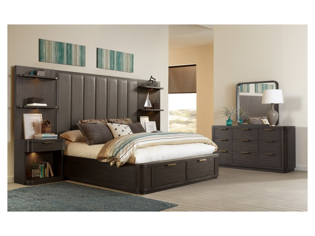 Riverside Furniture PrecisionKing Tall Upholstered Storage Bed