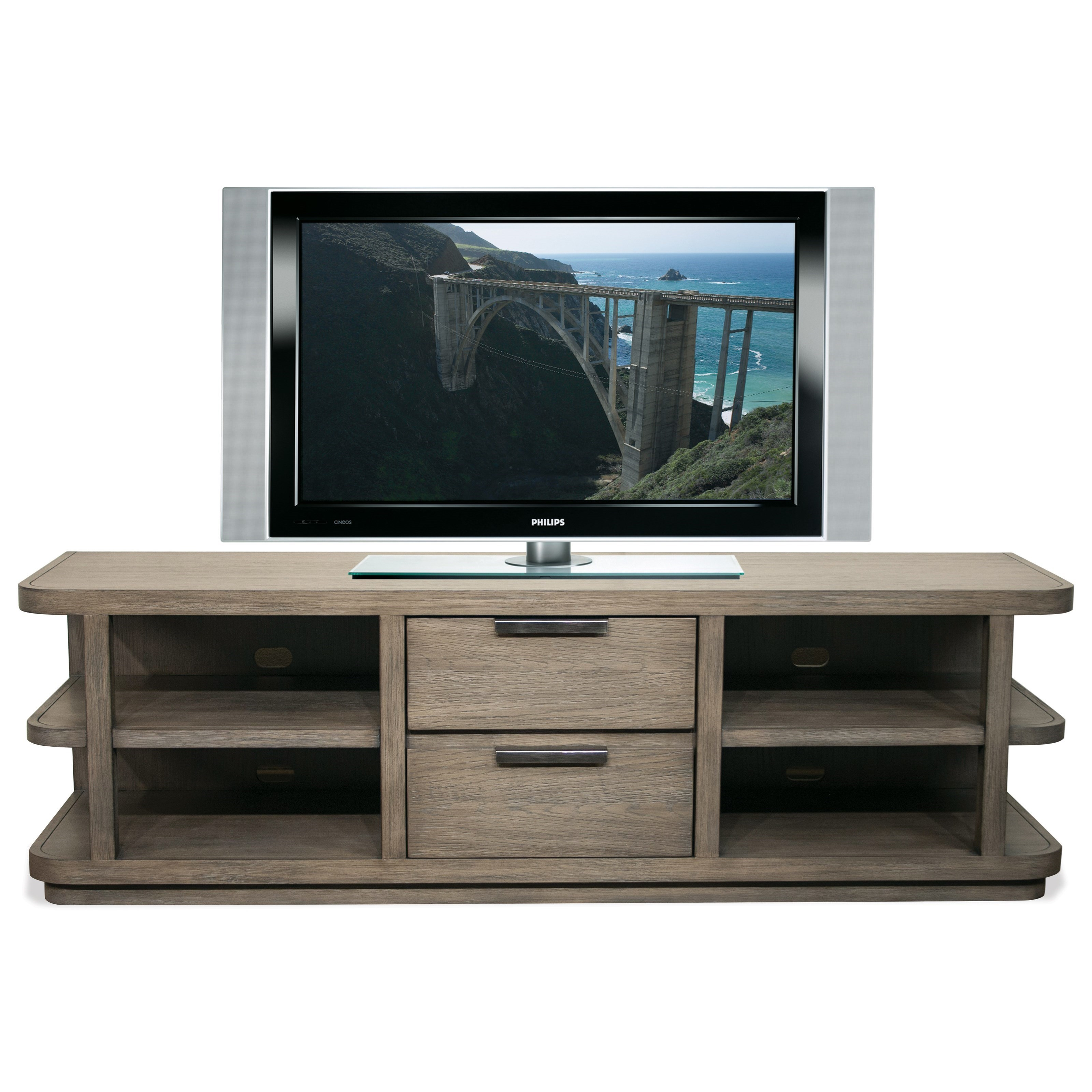 Merveilleux Riverside Furniture Precision Contemporary Entertainment Console With 4  Shelves And Rounded Corners