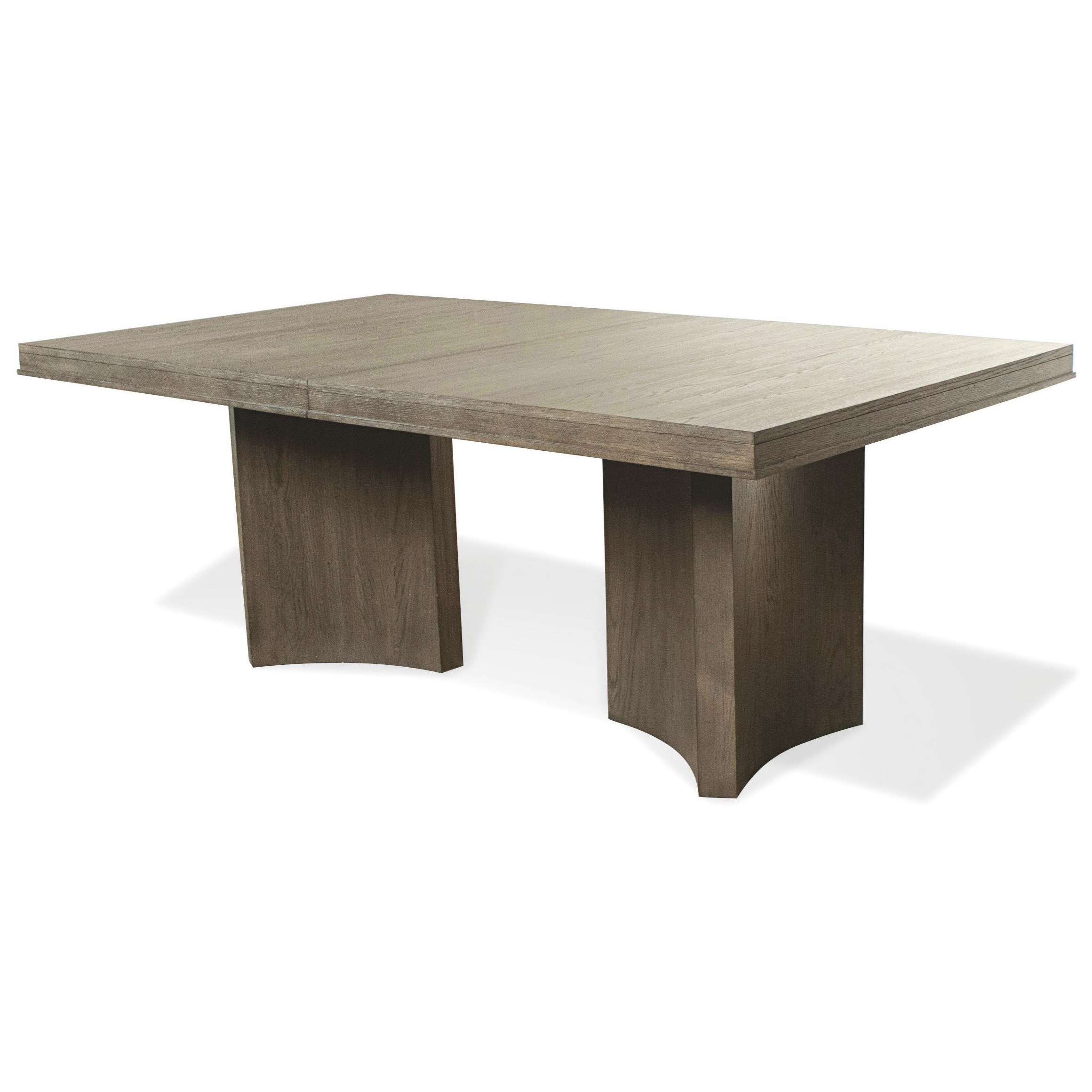Riverside Furniture Precision Contemporary Pedestal Dining Table with 2  Leaves | Dunk u0026 Bright Furniture | Dining Tables