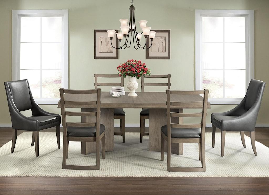 Riverside Furniture Precision 7 Piece Pedestal Dining Table Set