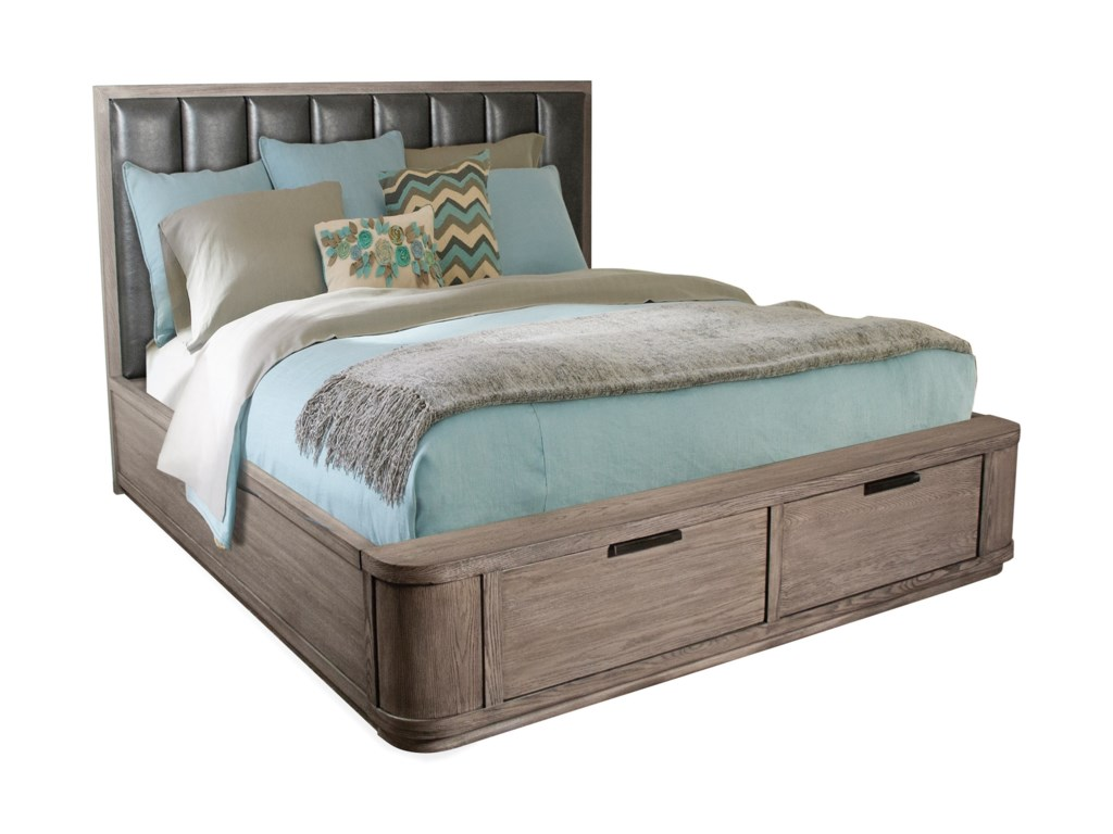 Riverside Furniture PrecisionQueen Low Upholstered Storage Bed