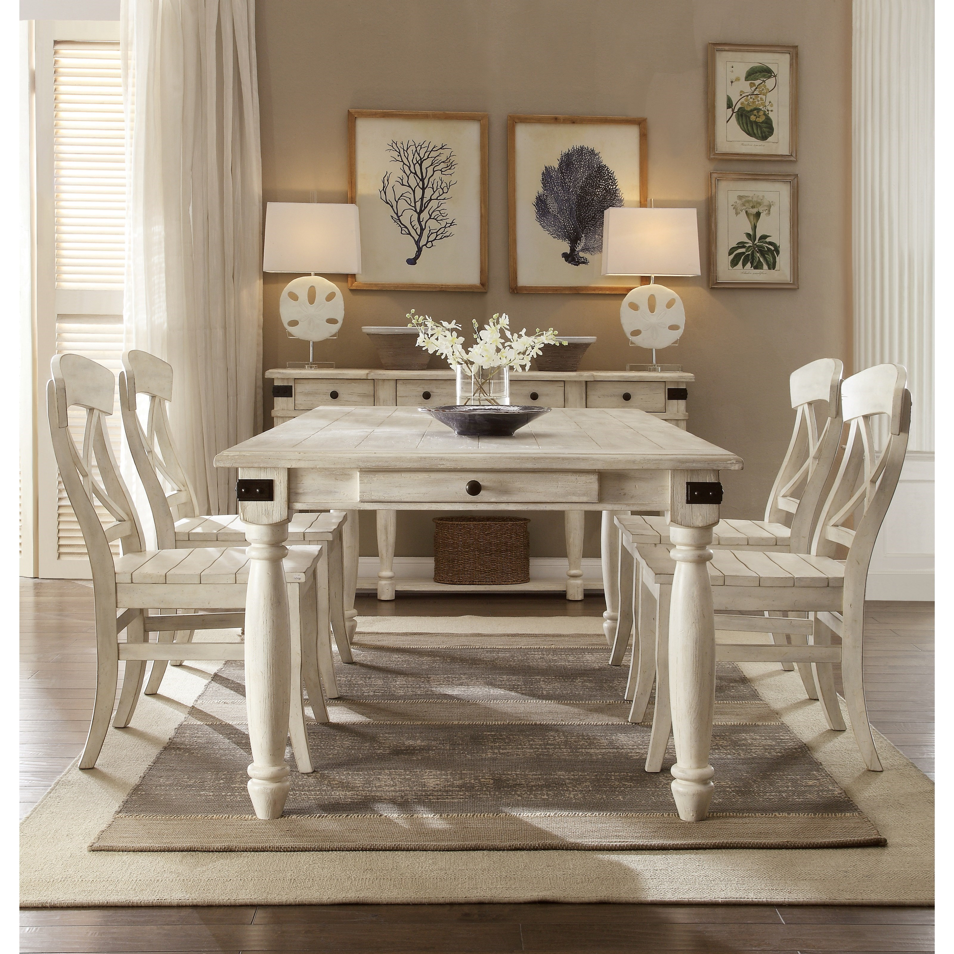 riverside furniture regan 5 piece 2 drawer dining table and x-back