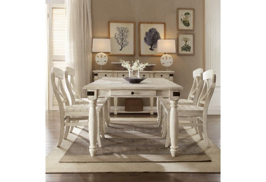 Riverside Furniture Regan 5 Piece 2 Drawer Dining Table And X Back Chair Set Lindy S Furniture Company Dining 5 Piece Sets