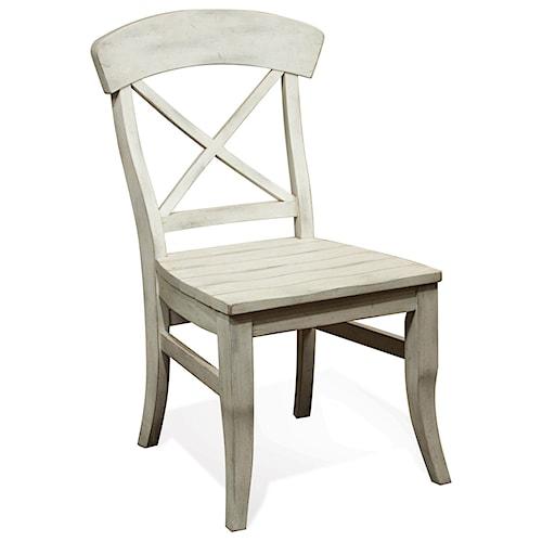 Riverside Furniture Regan X-Back Dining Side Chair with Saddle Seat