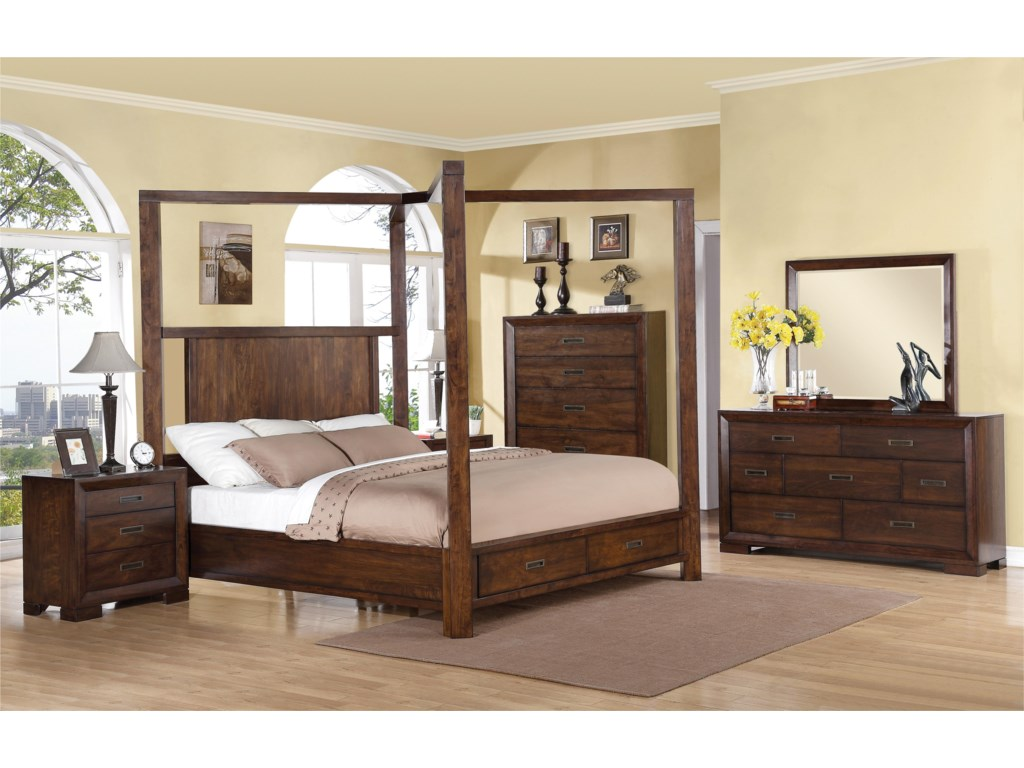 Riverside Furniture RiataQueen Canopy Storage Bed