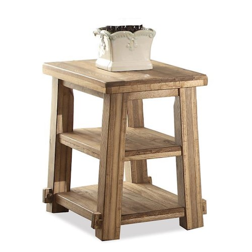 Riverside Furniture Ridgedale Petite Chairside Table w/ Shelves