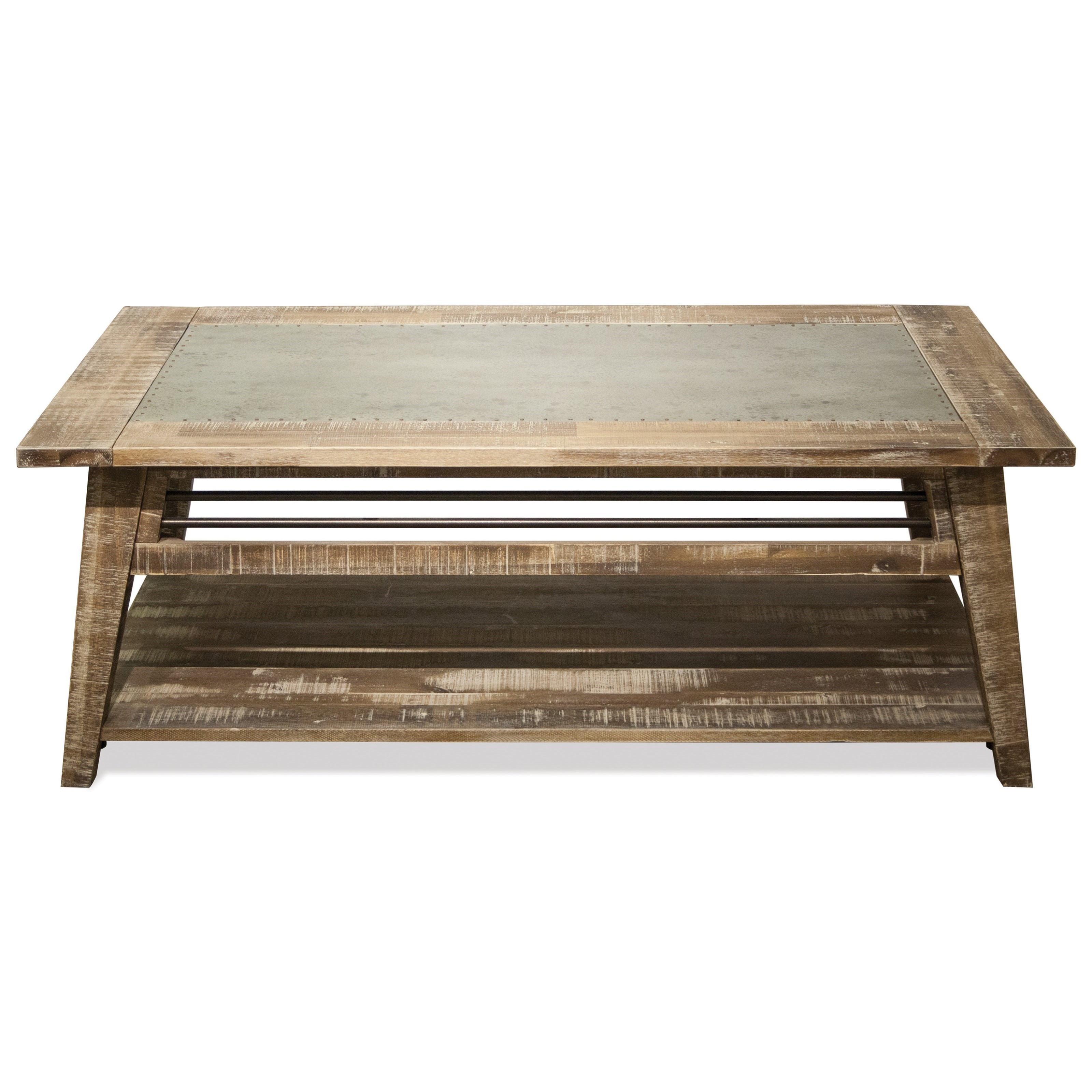 Riverside Furniture Rowan Industrial Coffee Table With Removable Casters