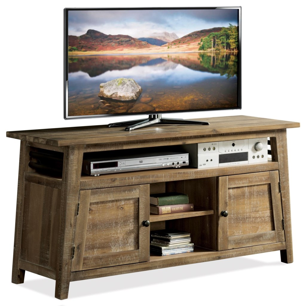 Riverside Furniture Rowan 12343 Industrial 56 Inch Tv Console With
