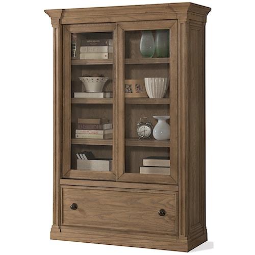 Riverside Furniture Sherborne Sliding Door Bookcase with Bottom File Drawer