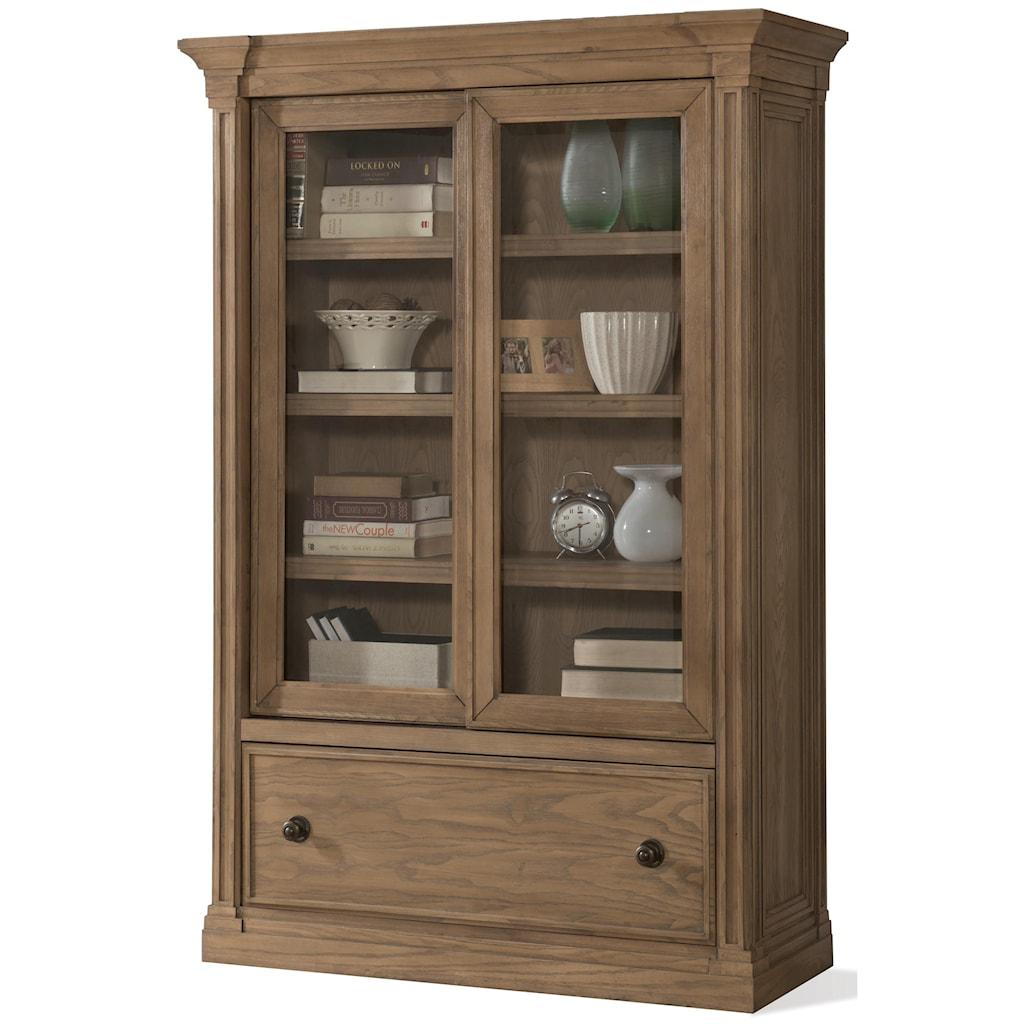Riverside Furniture Sherborne Sliding Door Bookcase With Bottom File Drawer  - Belfort Furniture - Closed Bookcase