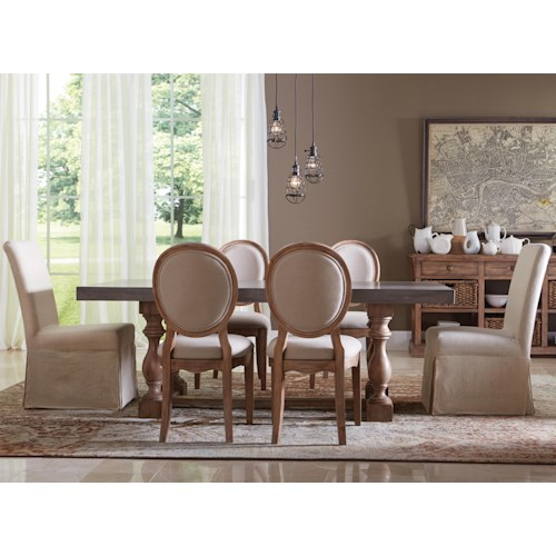 Riverside Furniture Sherborne 7 Piece Concrete Top Table and Upholstered Chair Set
