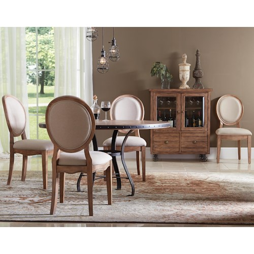 Riverside Furniture Sherborne 5 Piece Round Table and Oval Back Chair Set