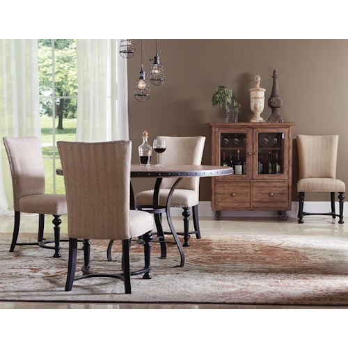 Riverside Furniture Sherborne 5 Piece Round Table and Upholstered Chair Set
