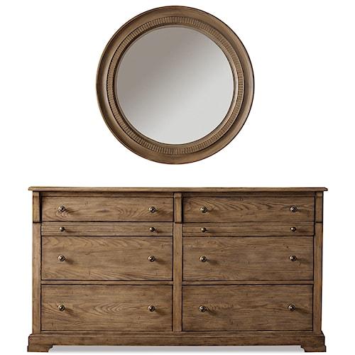 Riverside Furniture Sherborne 6 Drawer Dresser & Round Accent Mirror Set