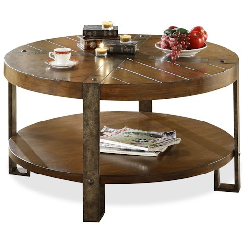 Riverside Furniture Sierra Round Wooden Coffee Table with Metal Legs
