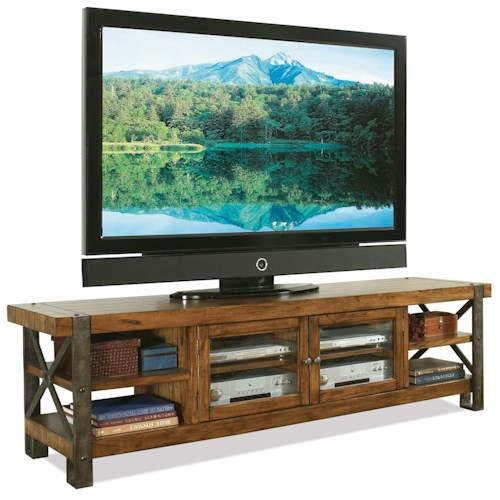 Riverside Furniture Sierra Rustic 80-In Tv Console w/ Glass Doors