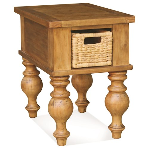 Riverside Furniture Summer Hill Chairside Table with Removable Woven Storage Basket