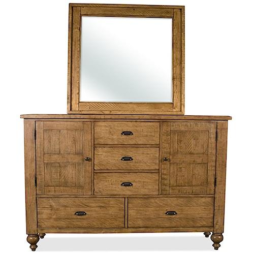 Riverside Furniture Summer Hill Door Dresser & Landscape Mirror