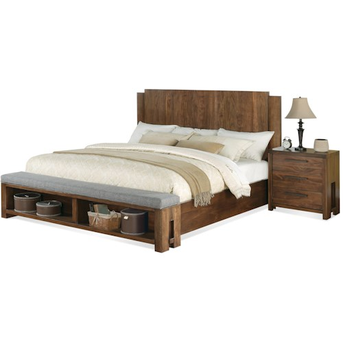 Riverside Furniture Terra Vista King Low Profile Panel Bed w/ Bench