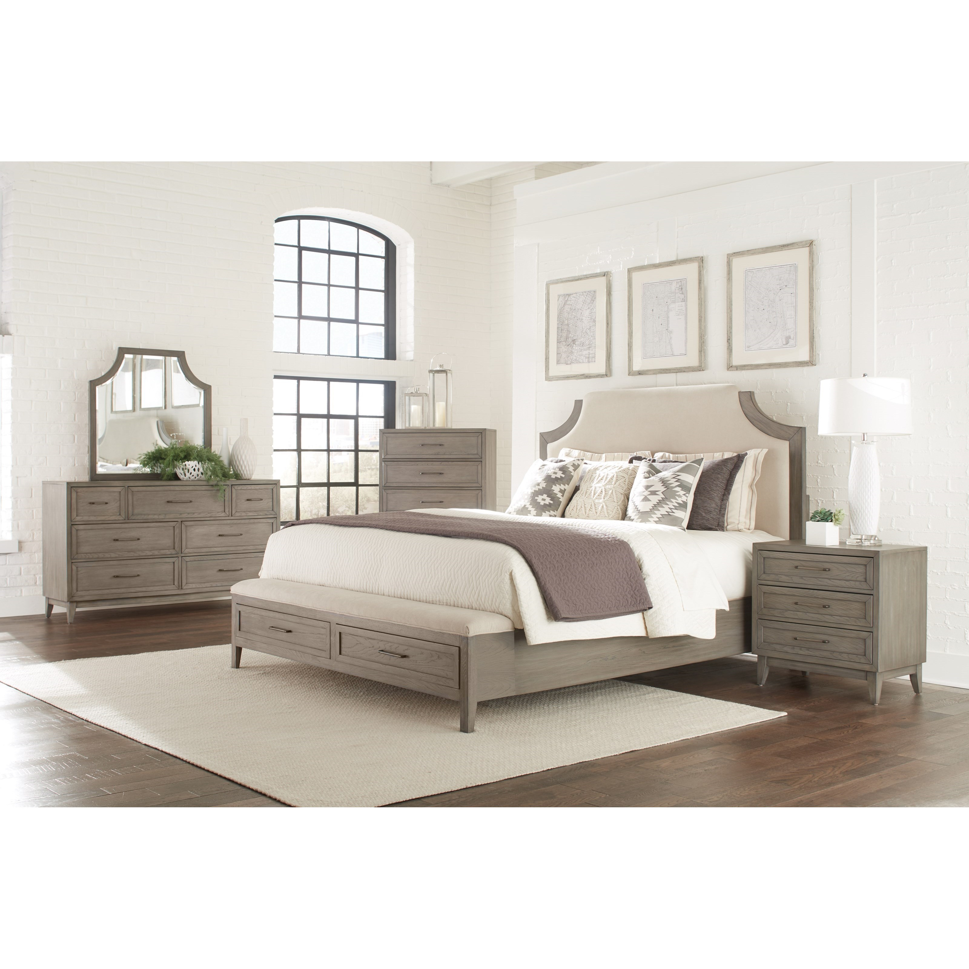 Riverside Furniture Vogue Queen Upholstered Bed With Storage Bench Footboard Wayside Furniture Panel Beds