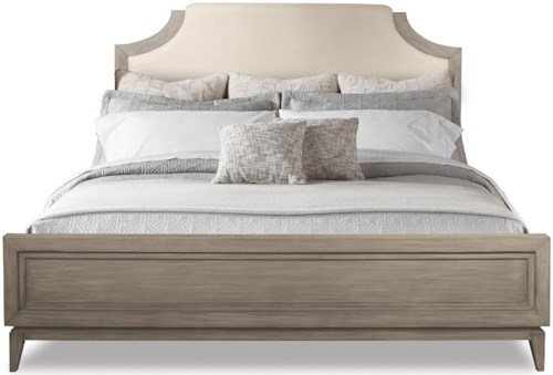 Riverside Furniture Vogue King Upholstered Bed in Gray Wash Finish