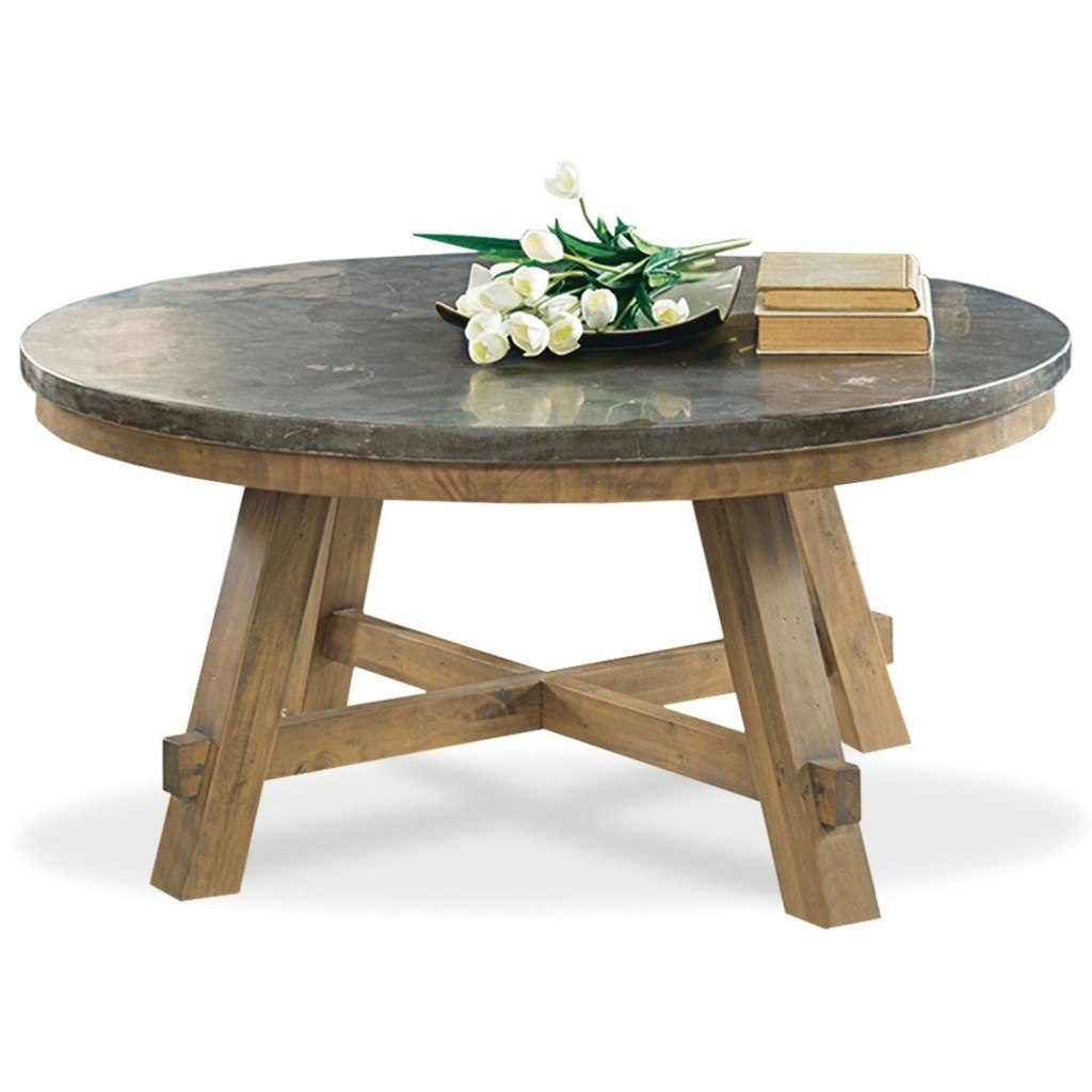 Weatherford round cocktail table with authentic bluestone top by riverside furniture