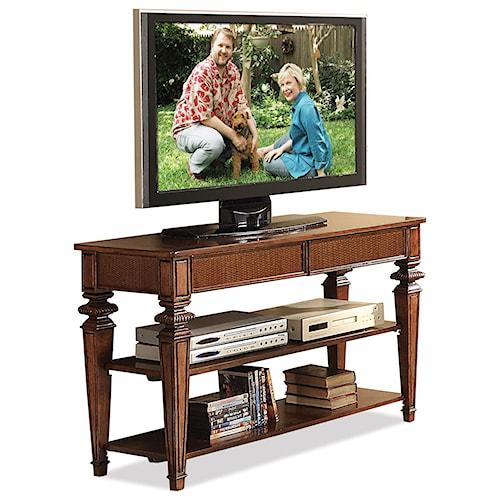 Riverside Furniture Windward Bay 2 Drawer Console Table in Warm Rum Finish