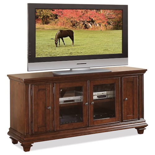 Riverside Furniture Windward Bay 63 Inch TV Console with Adjustable Shelving